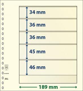 10 x LINDNER 802508P T-Blanko-Blätter Blankoblatt 18-Ring Lochung 5 Taschen 34 / 36 / 36 / 45 / 46 x 189 mm