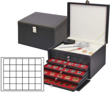 LINDNER 2376-2115E NERA KABINETT Sammelkassette Ablagefach 6 Schuber 2115E Für 180 Münzen bis 38 mm & münzkapseln bis 32, 5 innen - Ideal für 10 - 20 Euro Münzen in Münzkapseln