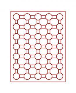 LINDNER 2530E Tableaus - Einlagen Velourseinlagen 35x32 mm Hellrot Rot 2 EURO 50 Cent in Münzkapseln