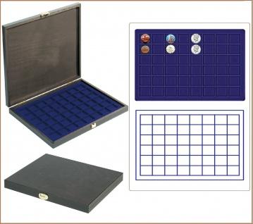 LINDNER S2491-2148ME CARUS-1 Echtholz Holz Sammelkassetten Münzkassetten blau Mit 48 quadratischen Fächern bis 30 mm Für Champagnerdeckel & Kronkorken