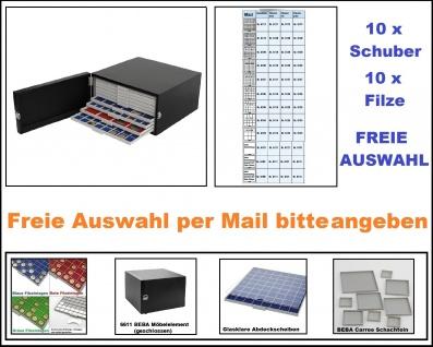 SAFE 6100 Set BEBA Münzkasten MAXI + 6611 BEBA schwarzes Möbelelement + mit 10 Schubern Schubladen gefüllt + Filzeinlagen Freie Auswahl