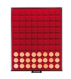 LINDNER 2780 MÜNZBOXEN Münzbox Rauchglas 80 x 24 mm Münzen quadratische Vertiefungen 1 DM 1 Euro