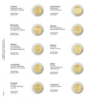 1 x LINDNER 1118-28 Vordruckblatt + K3 Karat Blatt 2 EURO Gedenkmünzen Lettland 2019 - Frankreich 2020