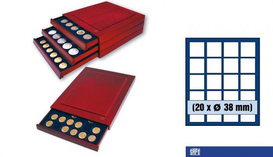 SAFE 6838 Nova Exquisite Holz Münzboxen Schubladenelement 20 Eckige Fächer 38 mm Für 10 - 20 Euro in Münzkapseln 32, 5 / 33 mm & Münzen bis 38 mm