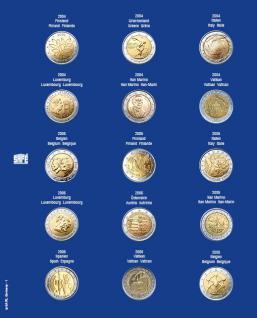 1 x SAFE 7822-1 TOPset Münzblätter Ergänzungsblätter Münzhüllen Münzblatt mit farbigem Vordruckblatt für 2 Euromünzen Gedenkmünzen 2004 - 2005
