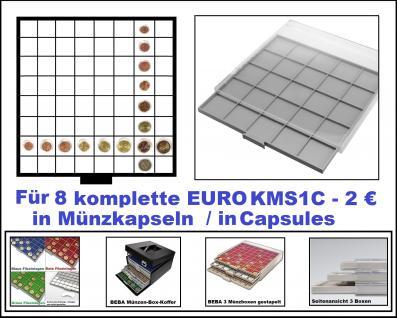 SAFE 6608 BEBA MÜNZBOXEN Standard Grau 64 quadratische Fächer 33, 6 mm Für 8 komplette Euro KMS Kursmünzensätze von 1 , 2 , 5 , 10 , 20 , 50 Cent & 1 , 2 Euro in Münzkapseln