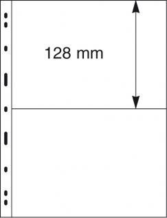 1 x LINDNER 092 UNIPLATE Blätter, glasklar 2 Streifen / Taschen 128 x 194 mm Für Gr. Belege Briefe Blocks Banknoten