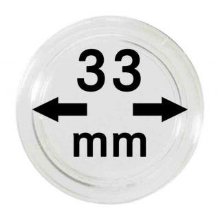5 LINDNER Münzkapseln / Münzenkapseln Capsules Caps 33 mm 2250033P