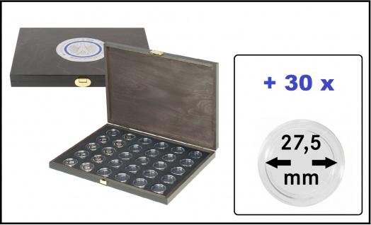 Lindner SO2491BS-2K Echtholz Münzkassette Carus-1 M BLACK SAMT für 30x Deutsche 5 Euro Gedenkmünzen Blauer Planet & Klimazonen 2016 - 2021 + 30 Münzkapseln 27, 5 mm