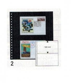 10 x LINDNER 02P Omnia Einsteckblätter schwarz 2 Streifen x 140 mm Streifenhöhe Für Postkarten & Briefe & Banknoten - Vorschau 1