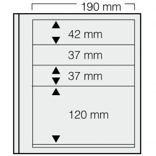 1 x SAFE 663 dual Blankoblätter Einsteckblätter Ergänzungsblätter mit je 1 Taschen 190x42 & 2 Taschen 190x37 mm & 1 Tasche 190x120 mm Für Briefmarken Banknoten Postkarten Briefe