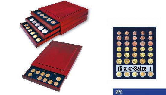 SAFE 6840 Nova Exquisite Holz Münzboxen Schubladenelement Für 5 x EURO Kursmünzensätze KMS 1 2 5 10 20 50 Cent - 1 2 €