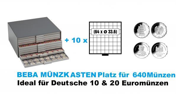 SAFE 6158 Beba Münzkasten mit 10 Schubern 6108 Platz für 640 Münzen bis 33, 6 mm - Ideal für Deutsche 10 - 20 Euromünzen Gedenkmünzen Sondermünzen