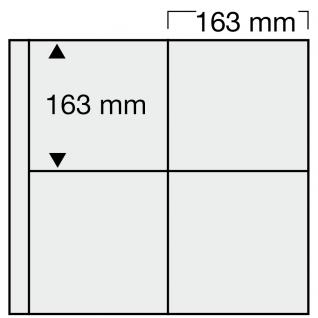 1 x SAFE 6025 Ergänzungsblätter WEISS 4 quadratische Taschen 163 x 163 mm waage. für 8 Sammelobjekte