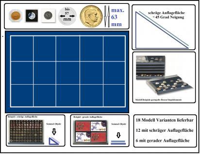 SAFE 6463 Stapelelement Münzbox Münzen-SAFE schräge Fläche blaue Einlage 15 eckige Fächer 63 mm - Ideal für Münzrähmchen Standard - Quadrum - Carree - Octo Münzkapseln