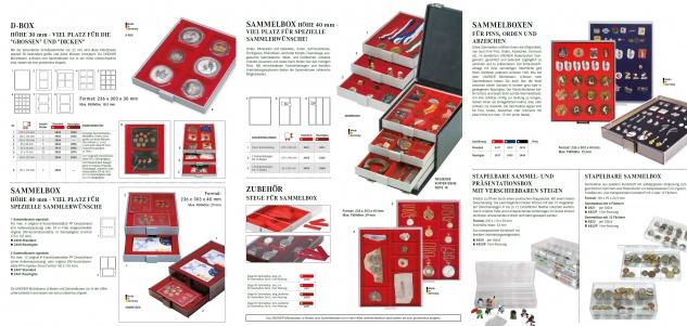 Lindner 2805 D-Box Münzboxen Sammelboxen für 2 x 5 original Deutsche EURO Kursmünzensätze KMS Stempelglanz hellrot Standard Grau - Vorschau 3