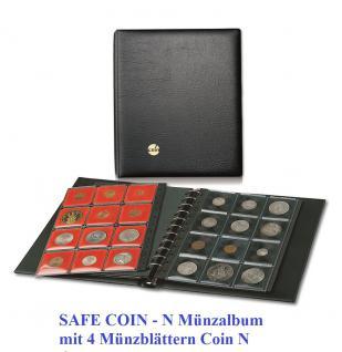 SAFE 760 COIN-N Münzalbum Ringbinder + 4 Ergänzungsblätter inklusive 48 schwarzen Münzrähmchen für Münzen von 14 - 47 mm