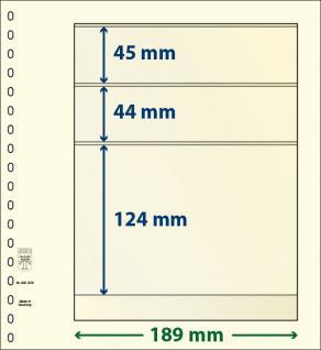 10 x LINDNER 802305P T-Blanko-Blätter Blankoblatt 18-Ring Lochung - 3 Taschen 45 / 44 / 124 x 189 mm
