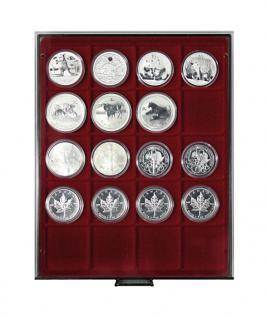 LINDNER 2721 Münzbox Münzboxen Rauchglas 20 x 51 mm Münzen 2 Unzen Kookaburra in org. Münzkapseln