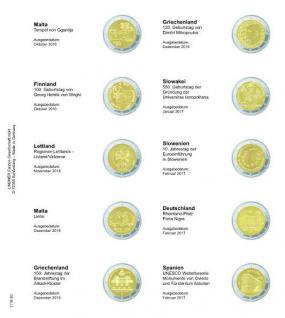 1 x LINDNER 1118-20 Vordruckblatt + K3 Karat Blatt - 2 EURO Gedenkmünzen Malta Oktober 2016 / Spanien Februar 2017