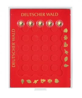 LINDNER S2228 Münzbox Münzbox Deutscher Wald 30x 20 GOLD EURO Goldeuro Münzen in Original Münzkapsel