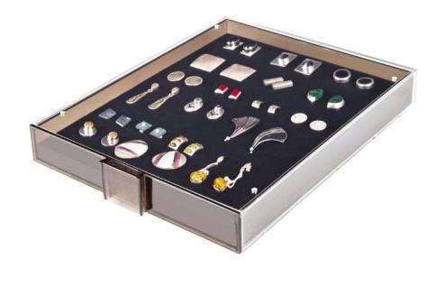 Lindner 2459 Sammelbox Rauchglas Marine Blau - Militaria Orden Abzeichen Pins Button Anstecknadeln - Vorschau 3