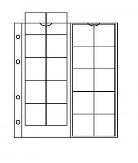 10 x KOBRA F20 Münzblätter Münzhüllen + weiße Zwischenblätter mit 20 Fächern für Münzen bis 34 mm - Vorschau 1