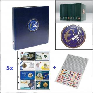 SAFE 7340-CK PREMIUM EUROMÜNZALBUM Münzalbum Blau + 5x 7404 Blätter für 40 Coincards + Flaggenset