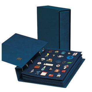 SAFE 7860 Compact Pin's & Sticker Sammelalbum 3 Samttafeln für bis zu 120 Pins Anstecknadeln Button