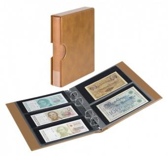 LINDNER S1406BN-H Hellbraun / Braun Rondo Ringbinder Album Banknotenalbum + Kassette + 5x Hüllen MU140 2er Teilung & 5x MU3103 3er Teilung