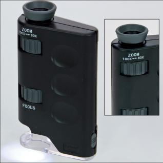 SAFE 1047 Zoom Mikroskope stufenlose 60 - 100 fache Vergrößerung mit LED + Batterien Für Münzen - Briefmarken - Mineralien - Fossilien