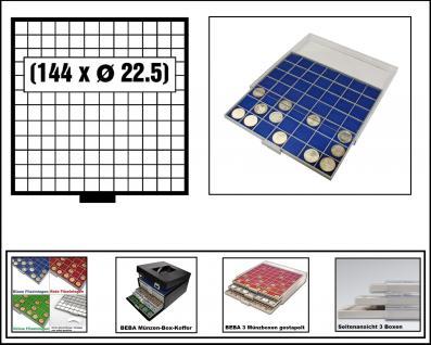 SAFE 6612-4 BEBA MÜNZBOXEN 144 quadratische Fächer 22, 5 mm + blaue Filzeinlagen Ideal für 1, 2, 5, 10, 20 Euro Cent & bis Münzkapseln 16, 5 mm