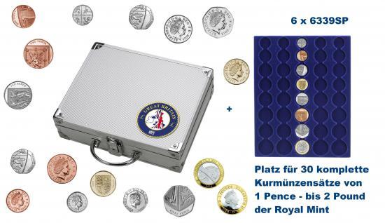SAFE 246 ALU Länder Münzkoffer SMART Grossbritannien / Great Britain / United Kingdom / England mit 6 Tableaus für 30 kompltte KMS Kursmünzensätze 1 Penny - 2 Pound / Pfund der Royal Mint of England