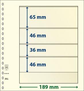 10 x LINDNER 802406P T-Blanko-Blätter Blankoblatt 18-Ring Lochung 4 Taschen 65 / 46 / 36 / 46 x 189 mm