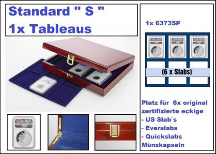 """SAFE 3528 Premium WURZELHOLZ Münzkassetten Standard """" S """" US SLAB 6 mit 1 Tableaus 6373 Für 6 x original zertifizierte US Slab & Everslab & Quicklab Münzkapseln"""