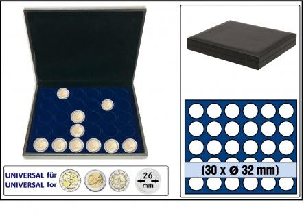 SAFE 63340 NOVA deluxe Münzkassette Lefa design schwarz 30 runde Fächer 32 mm Für 2 EURO Münzen in Münzkapseln 26