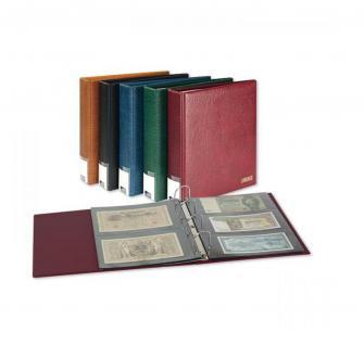 LINDNER 3506BN - W - Weinrot Rot Publica L Ringbinder Album Banknotenalbum + 20 Hüllen 8812 - 2 Taschen / 8813 - 3 Taschen Mixed Für Banknoten