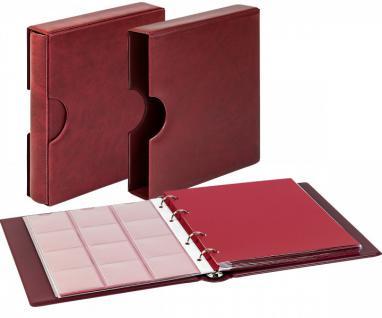 LINDNER 1106EK-W Münzalbum Karat CLASSIC Weinrot - Rot + Kassette + 10 x Münzhüllen MIX + 10 rote ZWL Zwischeneinlagen