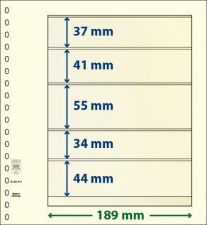 10 x LINDNER 802510P T-Blanko-Blätter Blankoblatt 18-Ring Lochung 5 Taschen 37 / 41 / 55 / 34 / 44 x 189 mm