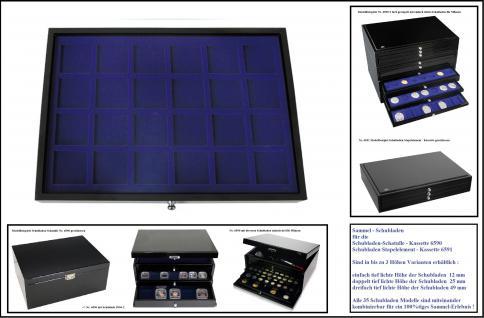 1 x SAFE 5947-3 Schwarze Schubladen dreifach tief 49 mm blaue Einlagen 24 Fächer bis 47 mm Ideal für Mineralien - Schmuck - Fossilien - Steine - Bernstein