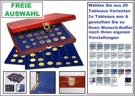 SAFE 5782 Premium WURZELHOLZ Münzkassetten mit 3 Tableaus FREIE Auswahl aus 29 Modellen Ideal für Geocoins & TBs Travel Bugs & Geocaching