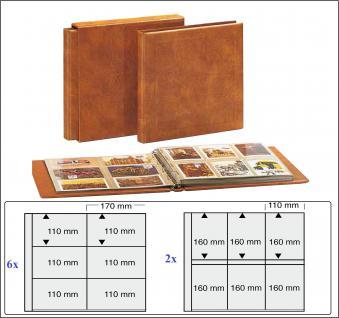 SAFE 1001 Skai MAXI Postkartenalbum Album Ringbinder Hellbraun + 8 Ergänungsblätter nutzbar bis zu neue 500 Ansichtskarten Postkarten Banknoten