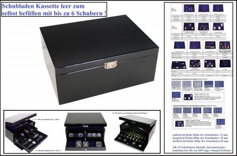 SAFE 6590 Schubladen Schatulle Classic KABINETT Sammelkassette + Ablagefach (leer) zum selbst befüllen mit bis zu 6 Schubern für Münzen - Mineralien - Orden - Uhren - Schreibgeräte