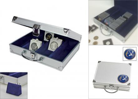 """SAFE 548 - 177-179 ALU Münzkoffer Premium Universal Euro Münzen mit """" Blauer 3D Euro """" Plakette für bis zu 220 Münzrähmchen Octo Quadrum Carree Münzkapseln - Vorschau 1"""