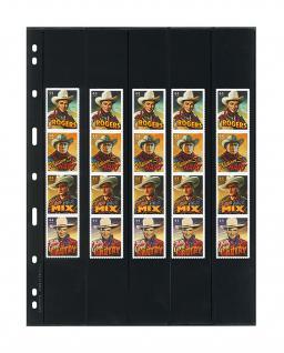 10 x LINDNER 065 UNIPLATE Blätter, schwarz 5 Streifen - 1x 35x258 - 3x 36x258 - 1x 38x258 mm