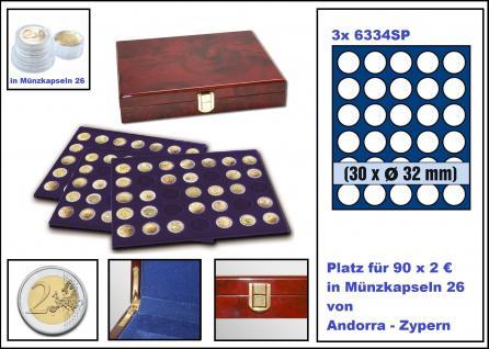 SAFE 5795 Premium WURZELHOLZ Münzkassetten mit 3 Tableaus 6334 - 90 Fächer Für 2 Euro Münzen Gedenkmünzen in Münzkapseln 26