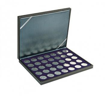LINDNER 2364-2111ME Nera M Münzkassetten Einlage Marine Blau 35 x Münzen 32, 50 mm für 10 & 20 Euro / DM / 10 & 20 Mark DDR