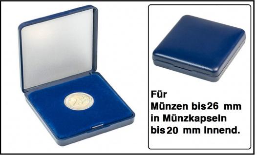 Lindner 2029-026 Blaues Kunststoff Münzetui mit blauer Veloureinlage Für Münzen / Münzkapseln bis 26 mm