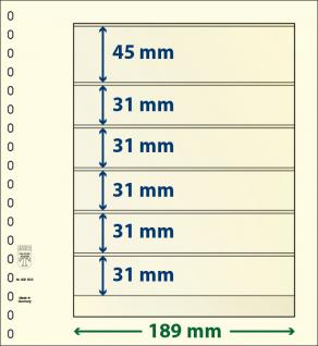 1 x LINDNER 802602 T-Blanko-Blätter Blankoblatt 18-Ring Lochung 6 Taschen 45 / 31 / 31 / 31 / 31 / 31 x 189 mm