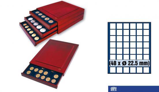 SAFE 6822 Nova Exquisite Holz Münzboxen Schubladenelement 48 Eckige Fächer x 22, 5 mm Für 10 - 50 Pf - 5 - 10 - 20 Cent € Euro - viele 1/4 Unze Goldmünzen - 5 & 10 Goldmark Kaiserreich